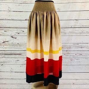 Maple Anthropology striped semi sheer skirt